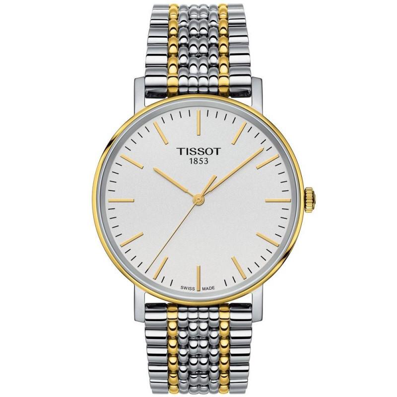 Tissot Everytime silver urtavla & stållänk guld PVD T1094102203100