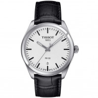 Tissot PR 100 Quartz Men's watch Silver & Leather strap T1014101603100