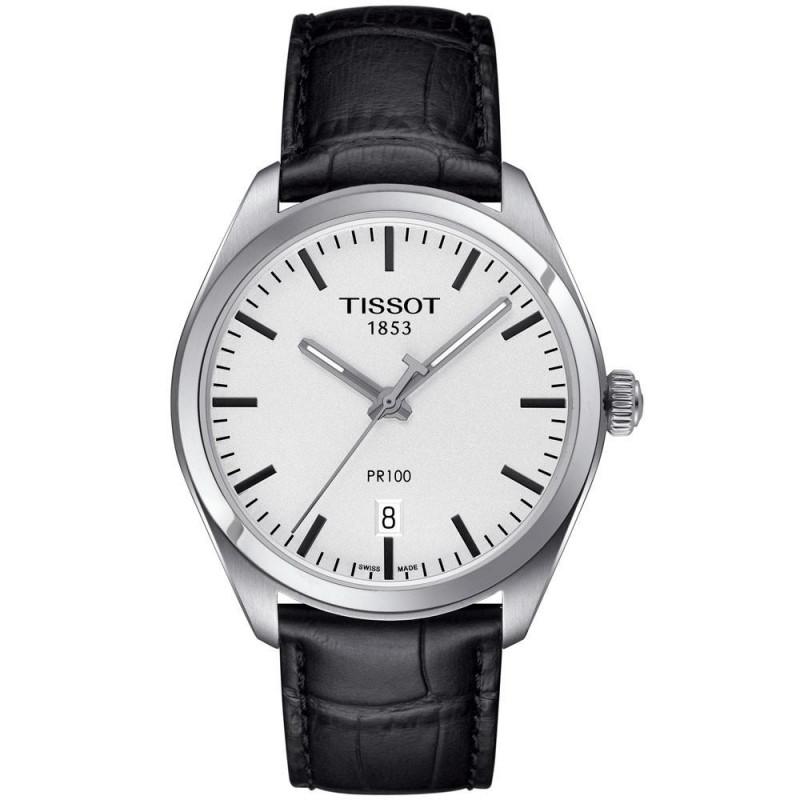 Tissot PR 100 Kvarts Herrklocka Silver & Läderband T1014101603100