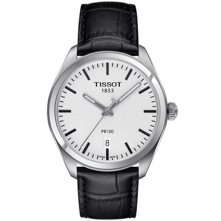 Tissot PR 100 Quartz Men's watch Silver & Leather strap T1014101603100