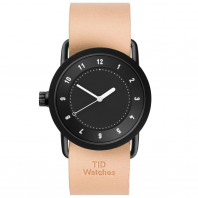 TID No. 1 unisex watch with black dial & case, and leather strap 36 mm