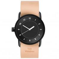 TID No. 1 unisex klocka med svart urtavla och läderband. 36 mm