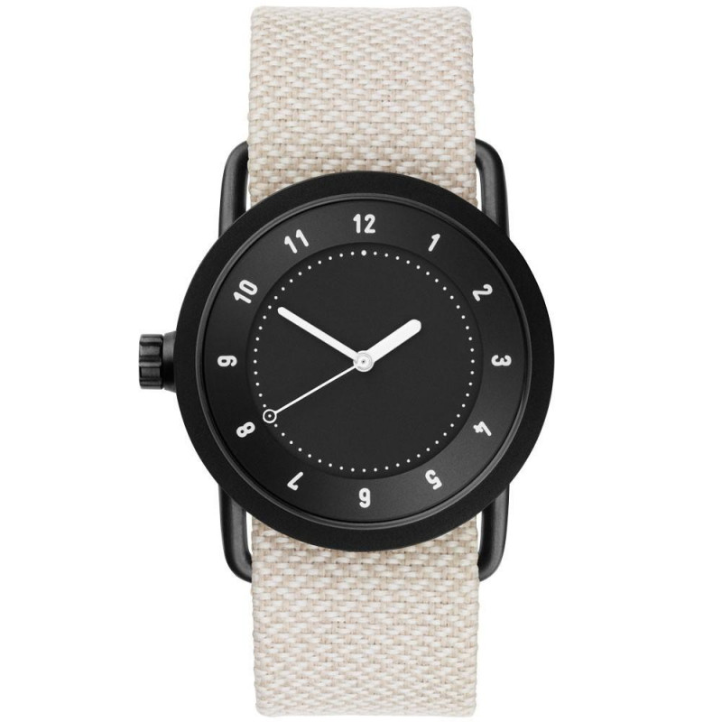 TID No. 1 unisex watch with black dial & case, and textile strap 36 mm