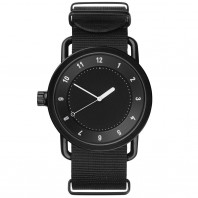 TID No. 1 men's watch with black dial & case, nylon strap. 40 mm