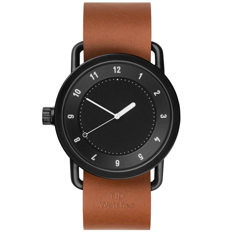 TID No. 1 men's watch with black dial & case, and leather strap. 40 mm