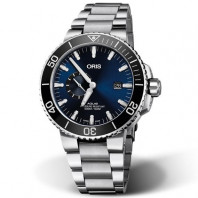 Oris Aquis Small Second & Date blå & stållänk 74377334135-0782405PEB