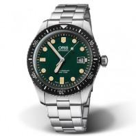 Oris Divers Sixty-Five grön urtavla & stållänk 733 7720 4057-8 21 18