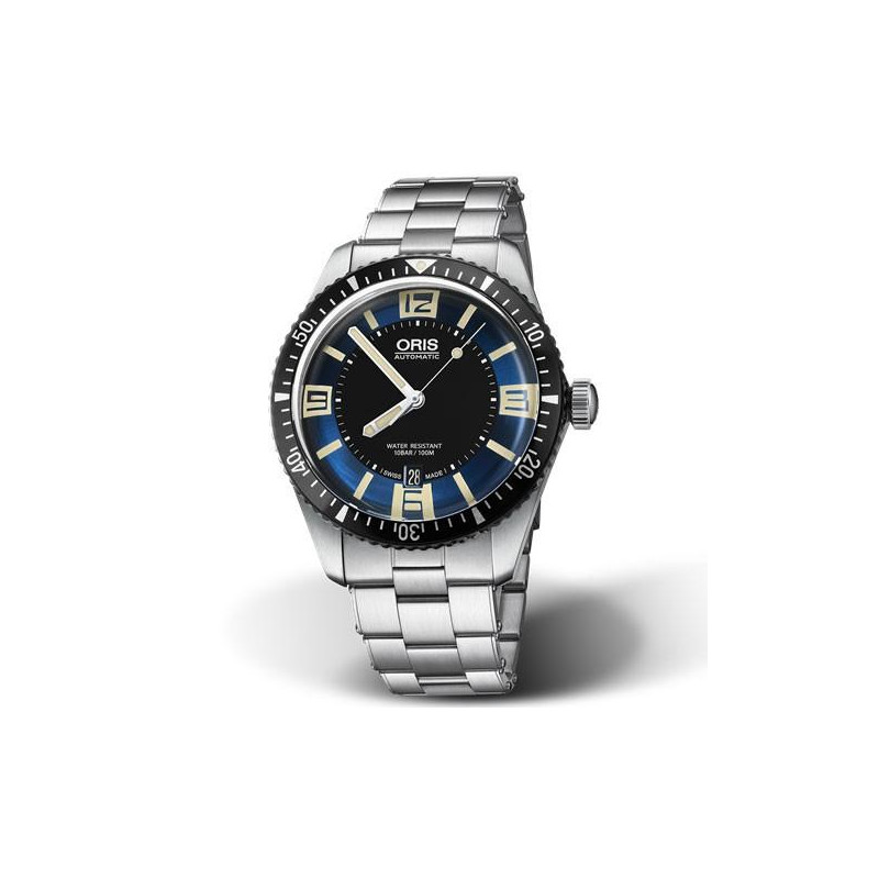 Oris Divers Sixty-Five - Blå urtavla and stållänk 733 7707 4035-8 2018