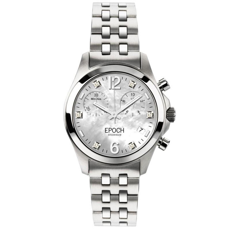 Epoch First Lady Chronograph Mother of Pearl White