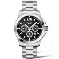 Longines Conquest  Chronograph Black Dial & steel bracelet L38014566