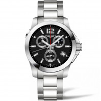 Longines - Conquest Chronograph Quartz, Black & bracelet L37024566