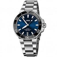 Oris - Aquis 39.5 mm. Sunburst blå urtavla & Stållänk 733 7732 4135