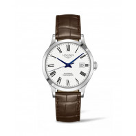 Longines - Record Leather Strap 38.5 mm White Dial & Roman Number