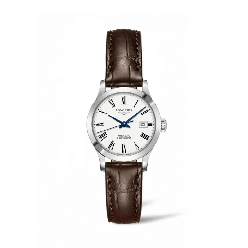 Longines - Record Lady Leather Strap 30 mm White Dial & Roman Number