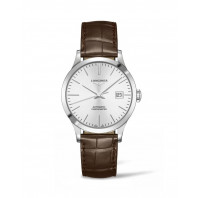 Longines - Record Leather Strap 38.5 mm Silver Diamond