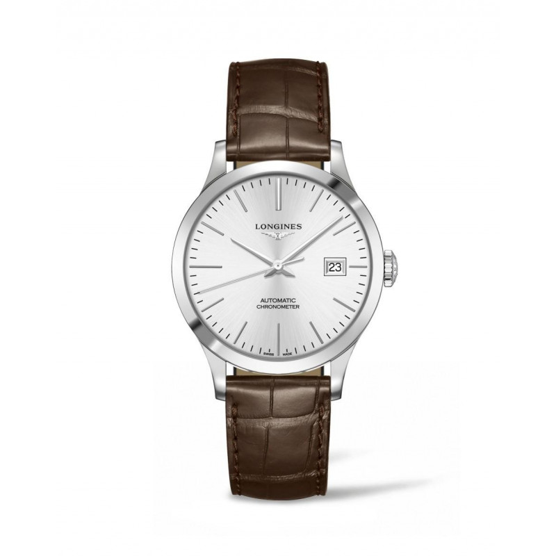 Longines - Record Leather Strap 38.5 mm Silver Dial