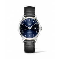 Longines - Record Läderband  38.5 mm Blå Urtavla