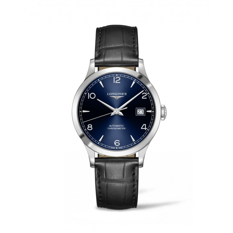 Longines - Record Leather Strap 38.5 mm Blue Dial