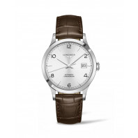 Longines - Record Leather Strap 40 mm Silver Dial