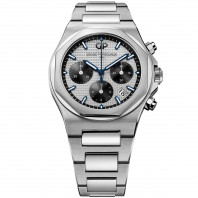 Girard-Perregaux - Laureato Kronograf Silver & Svart & Stållänk 38 mm