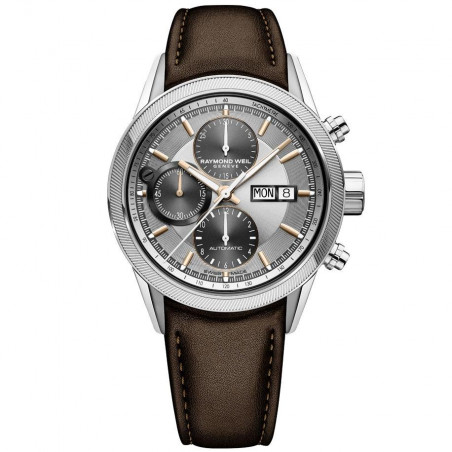 Raymond Weil - Freelancer 42mm Silver Steel On Leather Chronograph Gent's Watch