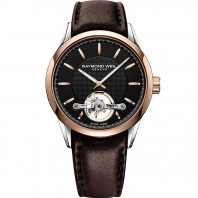 Raymond Weil - Freelancer Open Heart Silver Rose Gold & Steel Leather strap Gent's Watch