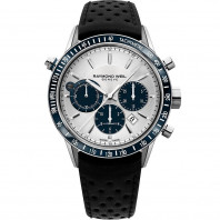 Raymond Weil - Freelancer 43mm Silver Steel On Leather Chronograph Gent's Watch