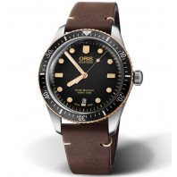 Oris Divers Sixty-Five Bronze Bezel, Leather Strap
