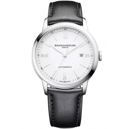 Baume & Mercier Classima Automatic Mens Watch White & Leather M0A10332