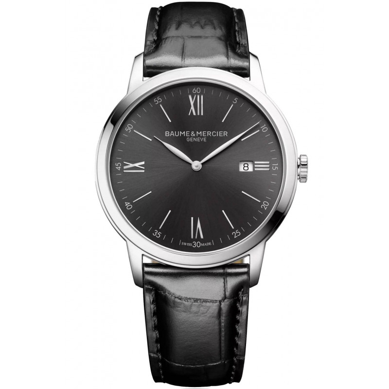Baume & Mercier Classima Quartz Black & Leather Mens Watch M0A10416