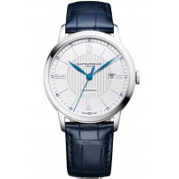 Baume & Mercier Classima Automatic Mens Watch White & Blue Hands, Alligator leather