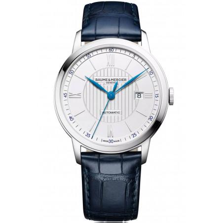 Baume & Mercier Classima Automatic Mens Watch White & Blue, Alligator