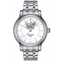 Tissot - TRADITION POWERMATIC 80 OPEN HEART Silver & Leather strap T0639071603800