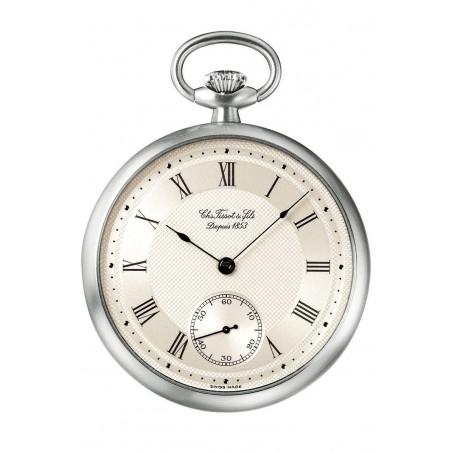 T-Pocket Le Pine Mechanical Pocket Watch, 925 silver case & chain