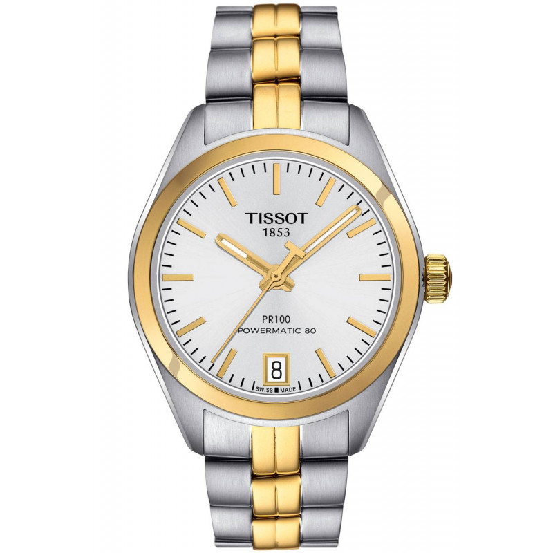 TISSOT PR 100 POWERMATIC 80 Silver Steel & Gold PVD Lady's Watch