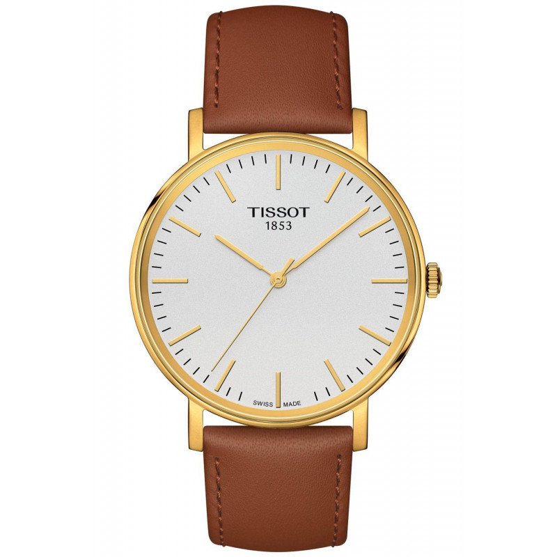 Tissot Everytime quartz, silver dial & leather strap T1094103603100