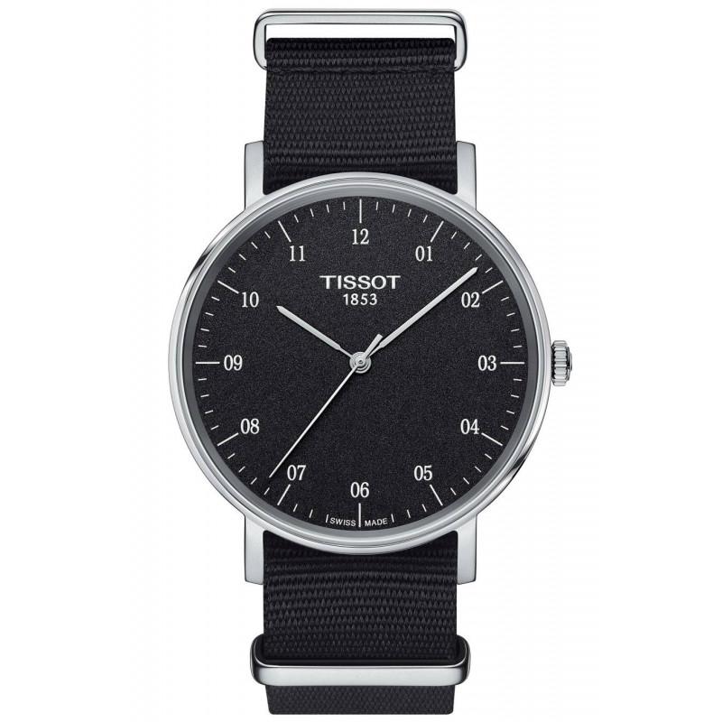Tissot - Everytime Swissmatic Rhodium Svart Natoband Herrklocka