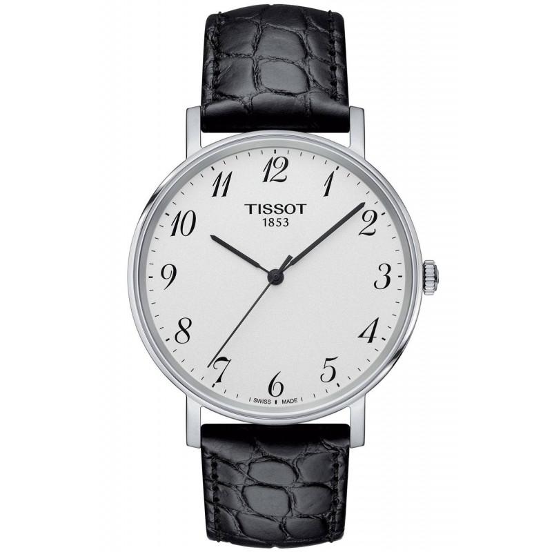 Tissot - Everytime Swissmatic Silver Stål Svart läderband Herrklocka