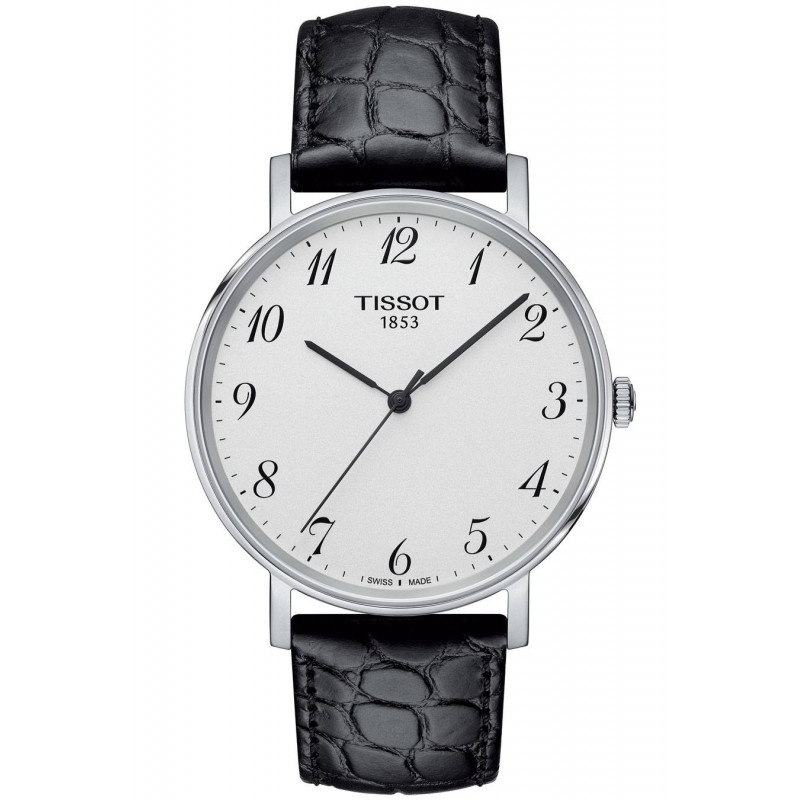 Tissot - Everytime Swissmatic Silver Steel Black Leather strap Gent's Watch
