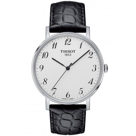 Tissot - Everytime Swissmatic Silver Steel Black Leather strap Gent's Watch