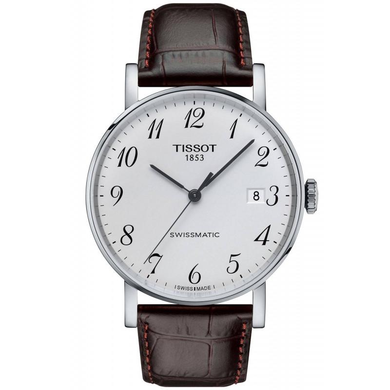 Tissot - Everytime Swissmatic Silver Stål Brunt läderband Herrklocka