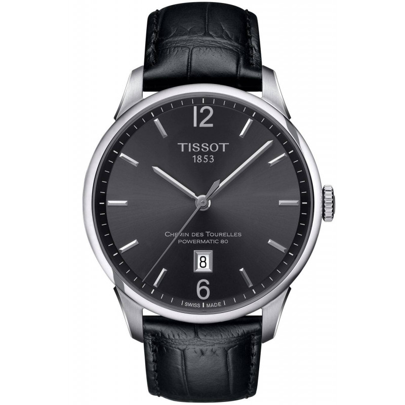 TISSOT - CHEMIN DES TOURELLES POWERMATIC 80 Black Leatherstrap Gent's Watch
