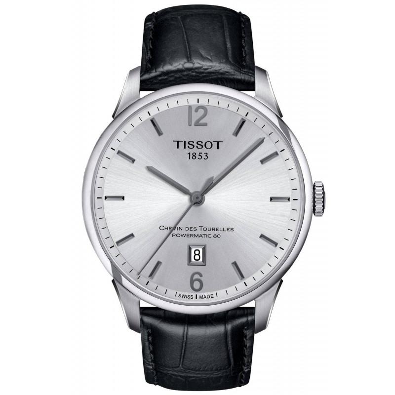 TISSOT - CHEMIN DES TOURELLES POWERMATIC 80 Silver Leatherstrap Gent's Watch