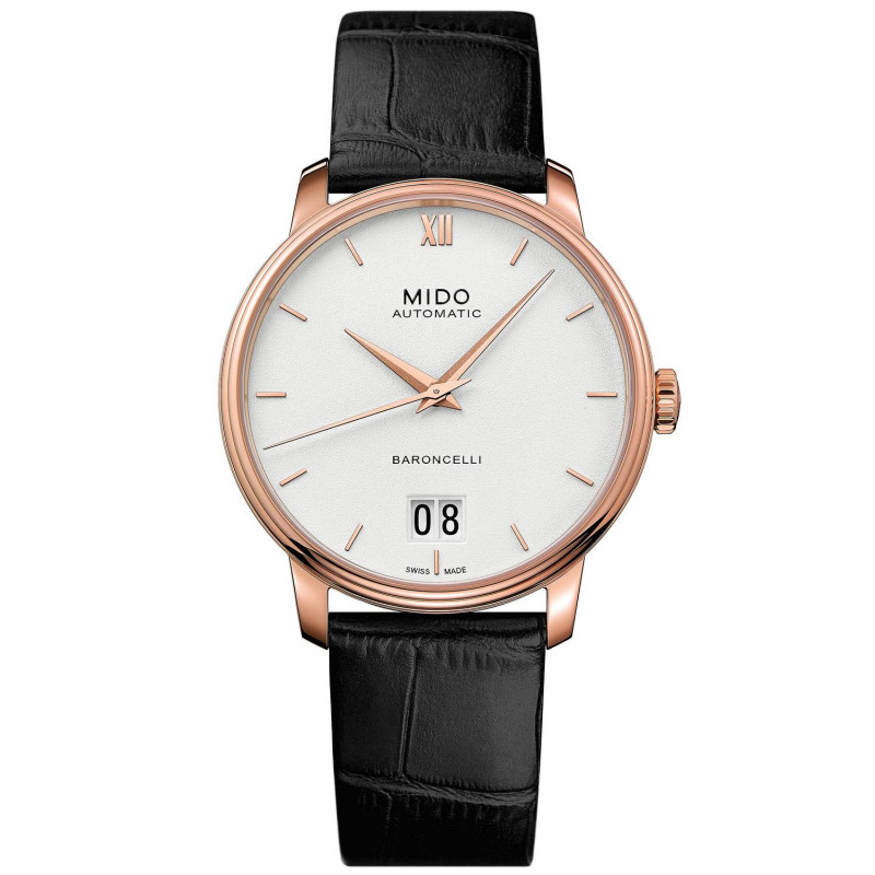 MIDO Baroncelli III- Automatic White & Rose Gold PVD Leather Gent's Watch