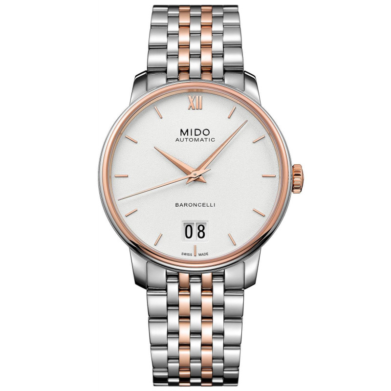 MIDO Baroncelli III- Automatic White Steel & Rose Gold PVD Gent's Watch