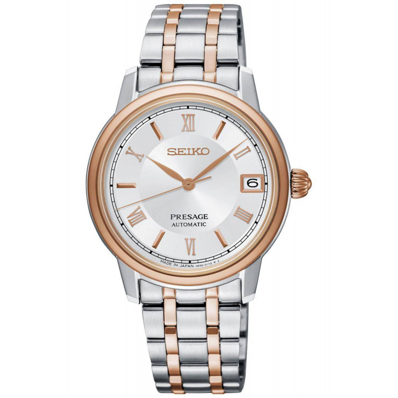 Seiko - Presage Automatic Silver Steel & Rose Gold PVD 34mm