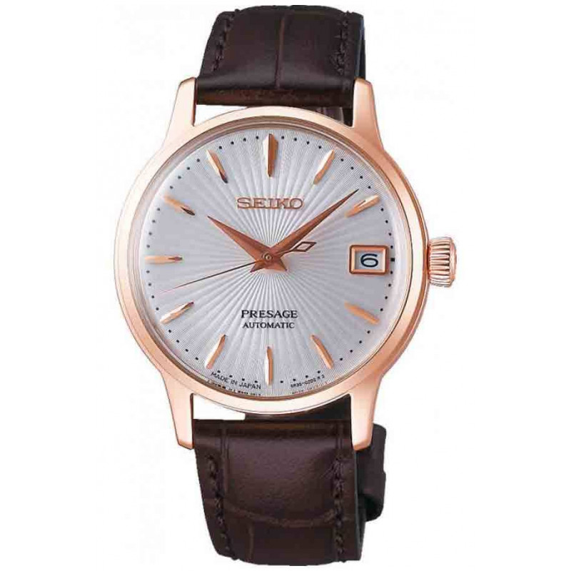 Seiko Presage Cocktail Automatic White Rose Gold Pvd Leather Strap 34mm