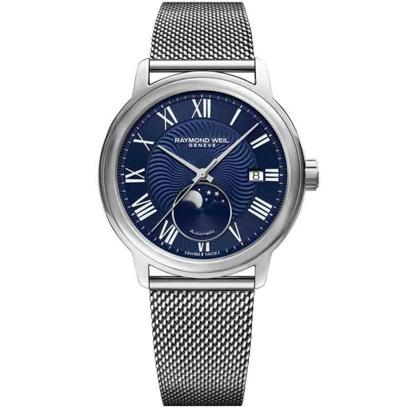 Raymond Weil - Maestro Moon Phase Blue & Steel Bracelet New 2018