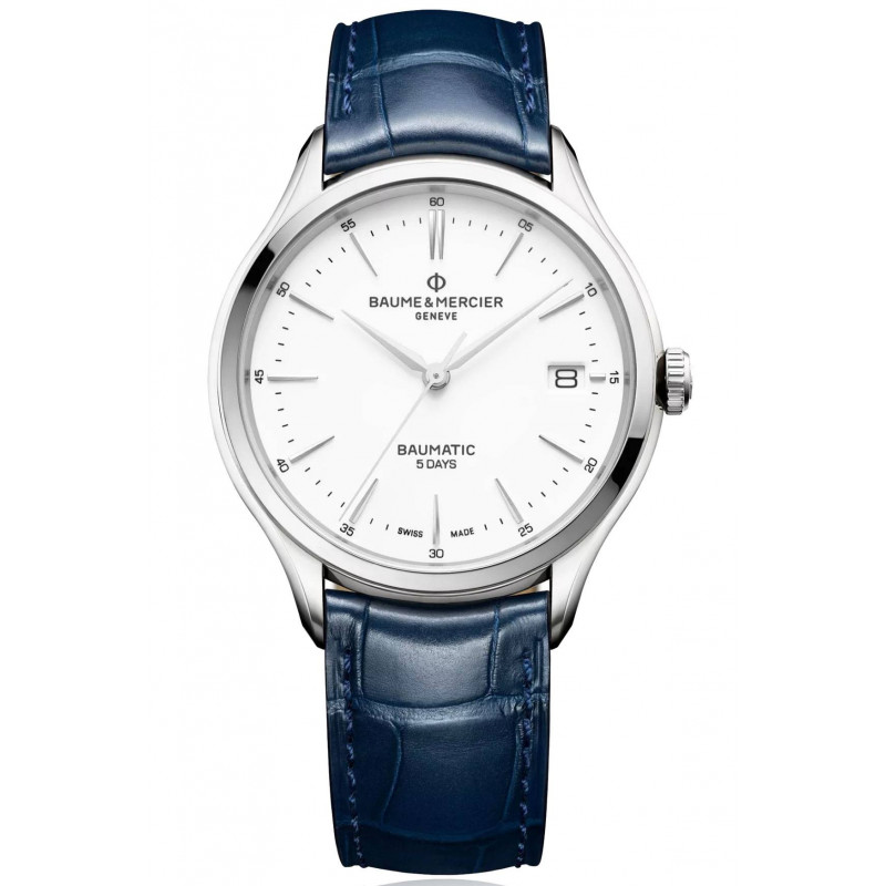 Baume & Mercier Clifton Baumatic white & Leather strap M0A10398
