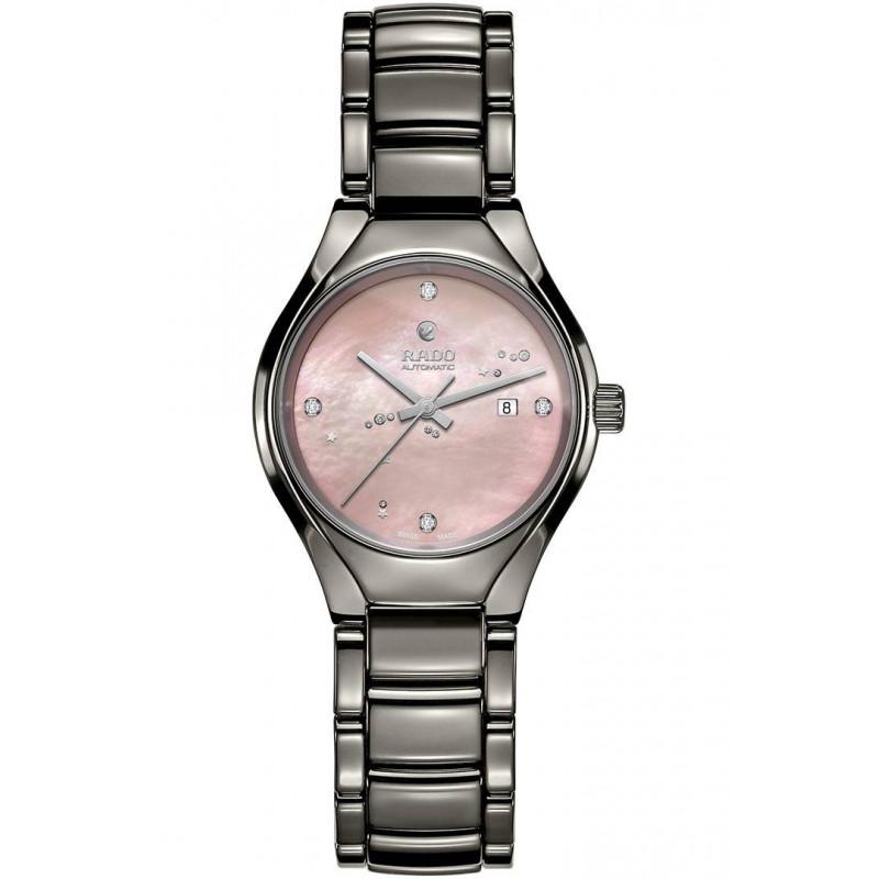 Rado True  damklocka med diamanter, rosa pärlemor & keramik R27243832